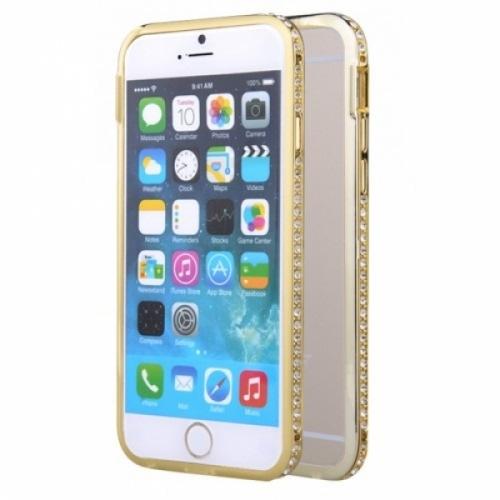 Металлический бампер со стразами Crystal на iPhone 6 Золото