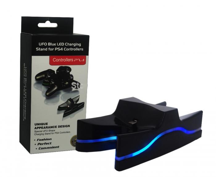 Зарядная станция UFO Blue LED Changing на 2 геймпада Dualshock 4 (ps4)