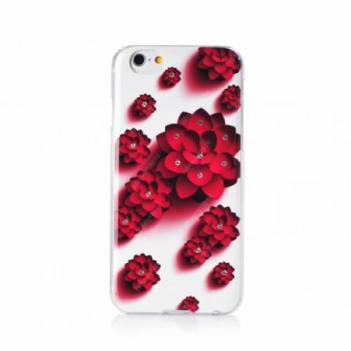 Пластиковый Чехол-накладка со стразами Beckberg для iPhone 6 Алый цветок