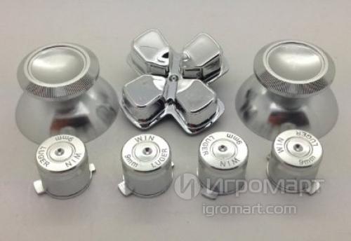 Набор металлические стики+кнопки 7 шт. Хром (Chrome Metall Chrome Origin) для Dualshock 4 (ps4)