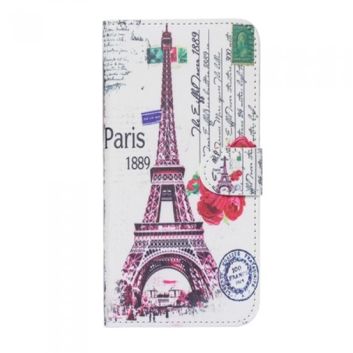 Чехол-книжка из натуральной кожи Париж II с отделами дкред. карт для iPhone 6 Белый