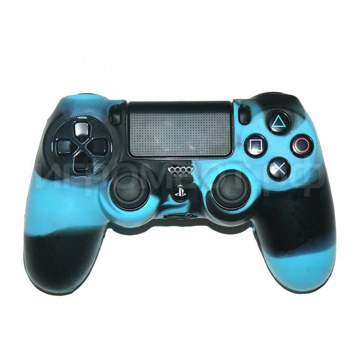 Чехол для Dualshock 4 Silicone Cover Camouflage Blue-Black голуба-черный силиконовый (ps4)