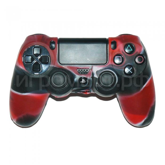 Чехол для Dualshock 4 Silicone Cover Camouflage Red-Black красно-черный силиконовый (ps4)