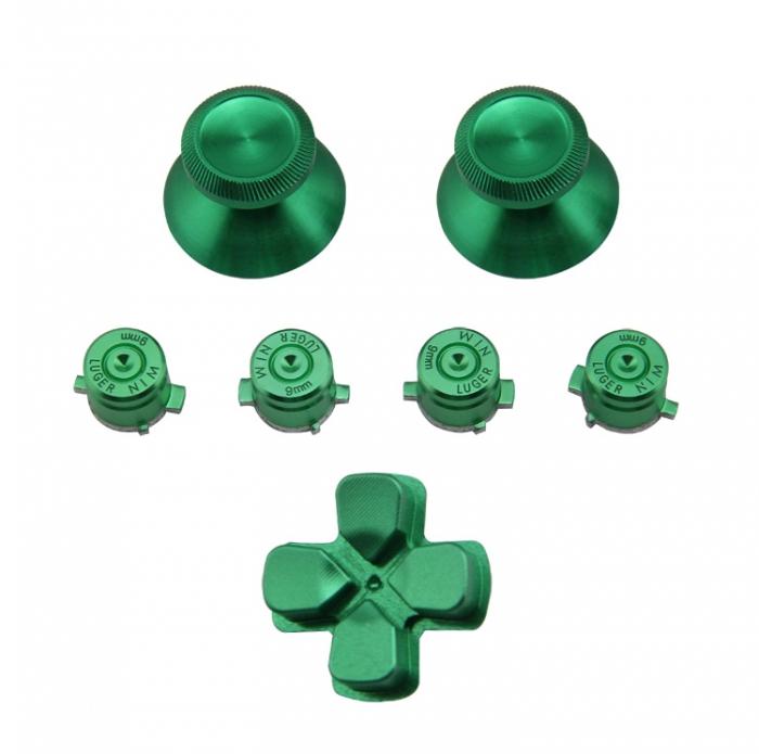 Набор металлические стики+кнопки 7 шт. Зеленый (Chrome Metall Green) для Dualshock 4 (ps4)