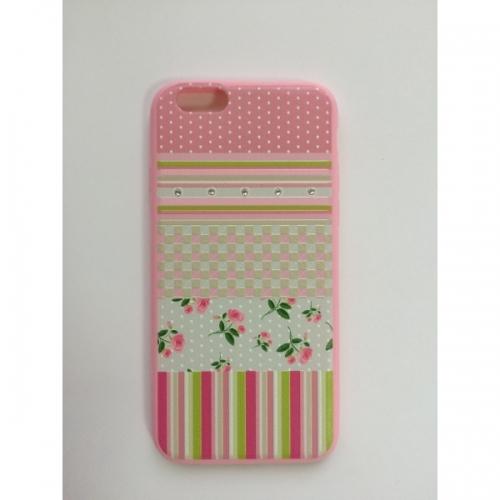 Пластиковый Чехол-накладка с силиконовыми боками Swarovski для iPhone 6 Розовые розы