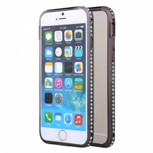Металлический бампер со стразами Crystal на iPhone 6 Черный
