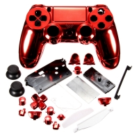 Комплект Корпус + Кнопки для Dualshock 4 Original Complete Chrome Red (Хромированный Красный) (ps4)