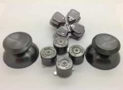 Набор металлические стики+кнопки 7 шт. Серый (Chrome Metall Dark Grey) для Dualshock 4 (ps4)