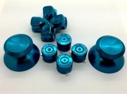 Набор металлические стики+кнопки 7 шт. Синий (Chrome Metall Blue Ice) для Dualshock 4 (ps4)