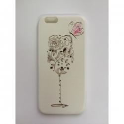 Пластиковый Чехол-накладка с силиконовыми боками Swarovski для iPhone 6 Цветочный бокал