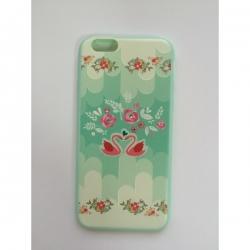 Пластиковый Чехол-накладка с силиконовыми боками Swarovski для iPhone 6 Лебеди