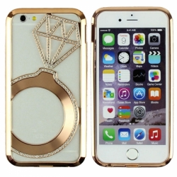 Металлический бампер Crystal Ring (Кольцо) со стразами на iPhone 6 Бронза