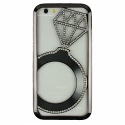 Металлический бампер Crystal Ring (Кольцо) со стразами на iPhone 6 Черный