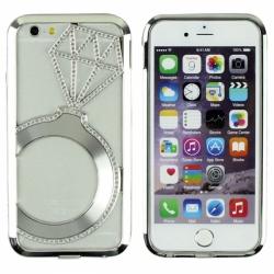 Металлический легкий бампер со стразами Crystal Light на iPhone 6 Серебро