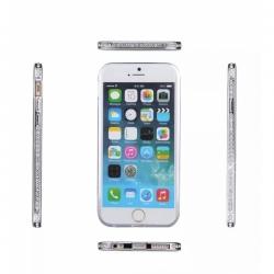 Металлический бампер со стразами Crystal на iPhone 6 Серебро