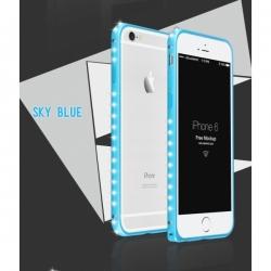 Металлический легкий бампер со стразами Crystal Light на iPhone 6 Голубой