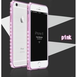 Металлический легкий бампер со стразами Crystal Light на iPhone 6 Розовый