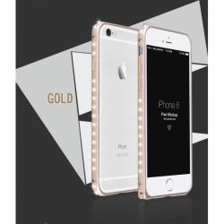 Металлический легкий бампер со стразами Crystal Light на iPhone 6 Золото