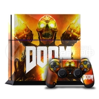 Doom - Наклейка на PlayStation 4 (ps4)