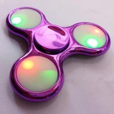 Spinner Спиннер крутилка треугольник глянцевый под металл с LED подсветкой (Розовый)