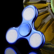Spinner Спиннер крутилка треугольник глянцевый под металл с LED подсветкой (Синий)