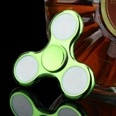 Spinner Спиннер крутилка треугольник глянцевый под металл с LED подсветкой (Зеленый)
